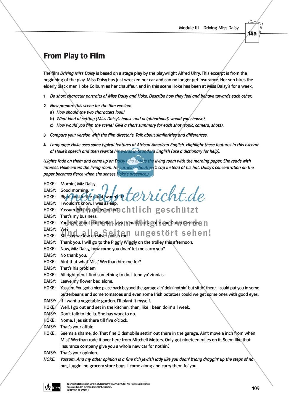 Driving Miss Daisy: Lernziele + Inhalt + Arbeitsblätter + Klausur + Lösungen Preview 29