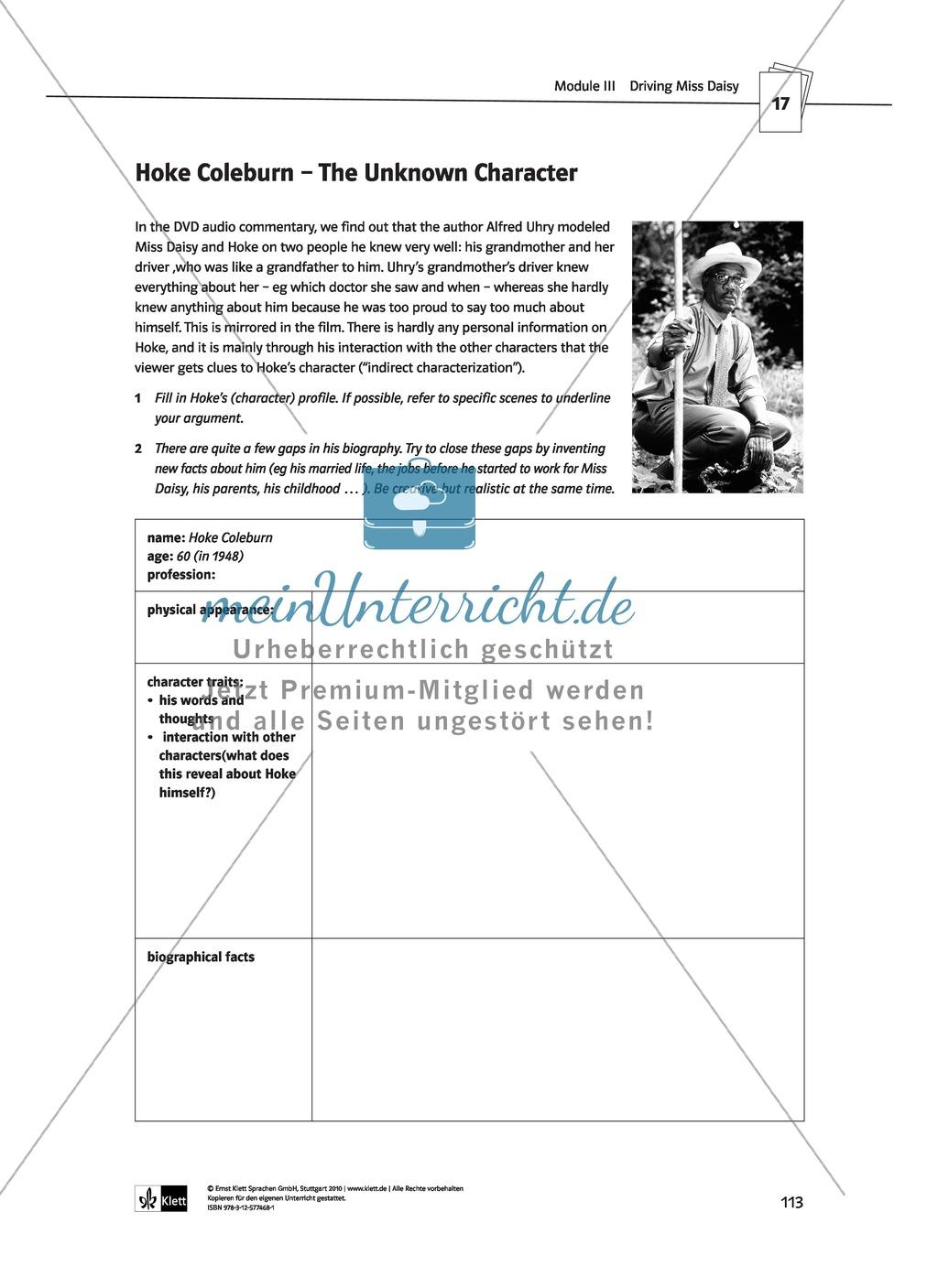 Driving Miss Daisy: Lernziele + Inhalt + Arbeitsblätter + Klausur + Lösungen Preview 33