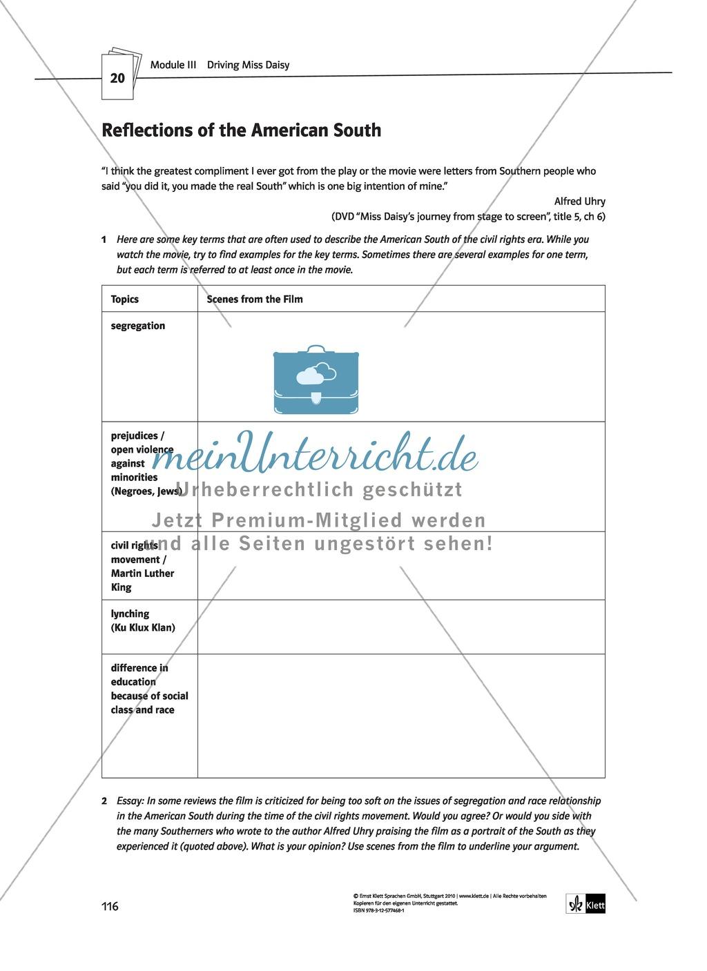 Driving Miss Daisy: Lernziele + Inhalt + Arbeitsblätter + Klausur + Lösungen Preview 36