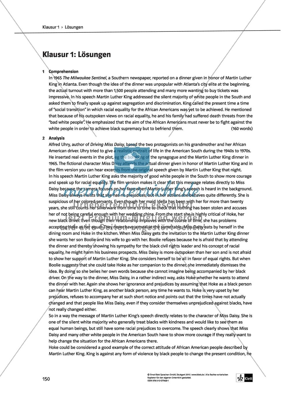 Driving Miss Daisy: Lernziele + Inhalt + Arbeitsblätter + Klausur + Lösungen Preview 43