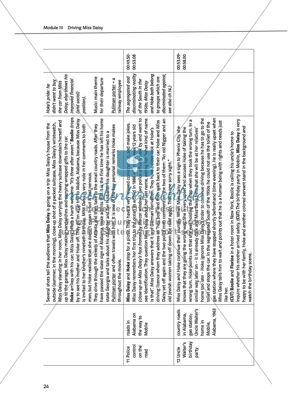 Driving Miss Daisy: Lernziele + Inhalt + Arbeitsblätter + Klausur + Lösungen Preview 6