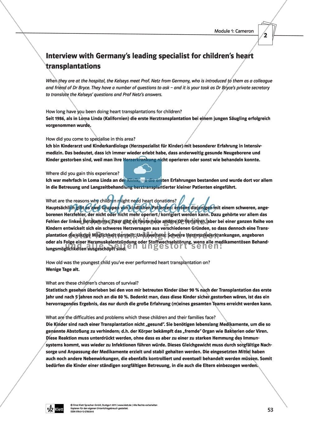 Cameron as the main character: Direct and indirect characterisation. Mit didaktischen Anmerkungen, Kopiervorlagen, Vokabelanmerkungen und Lösungsvorschlägen. Preview 10