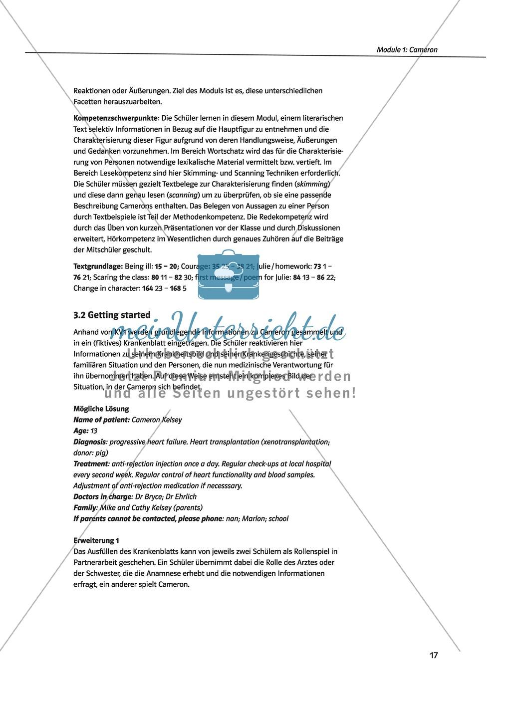 Cameron as the main character: Direct and indirect characterisation. Mit didaktischen Anmerkungen, Kopiervorlagen, Vokabelanmerkungen und Lösungsvorschlägen. Preview 1