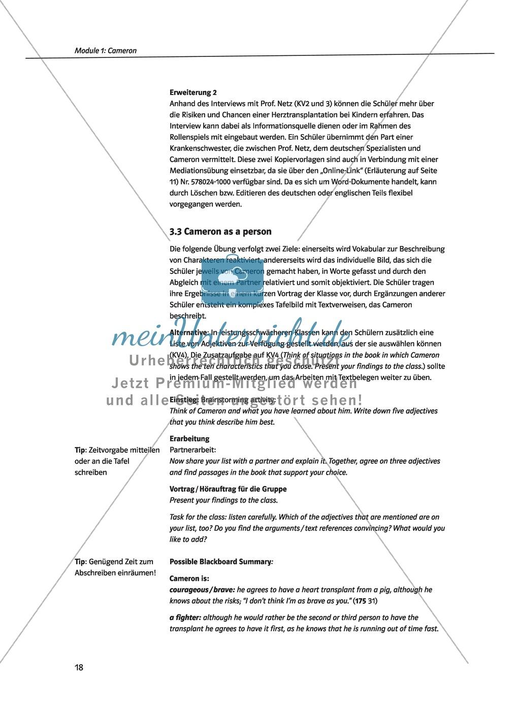 Cameron as the main character: Direct and indirect characterisation. Mit didaktischen Anmerkungen, Kopiervorlagen, Vokabelanmerkungen und Lösungsvorschlägen. Preview 2