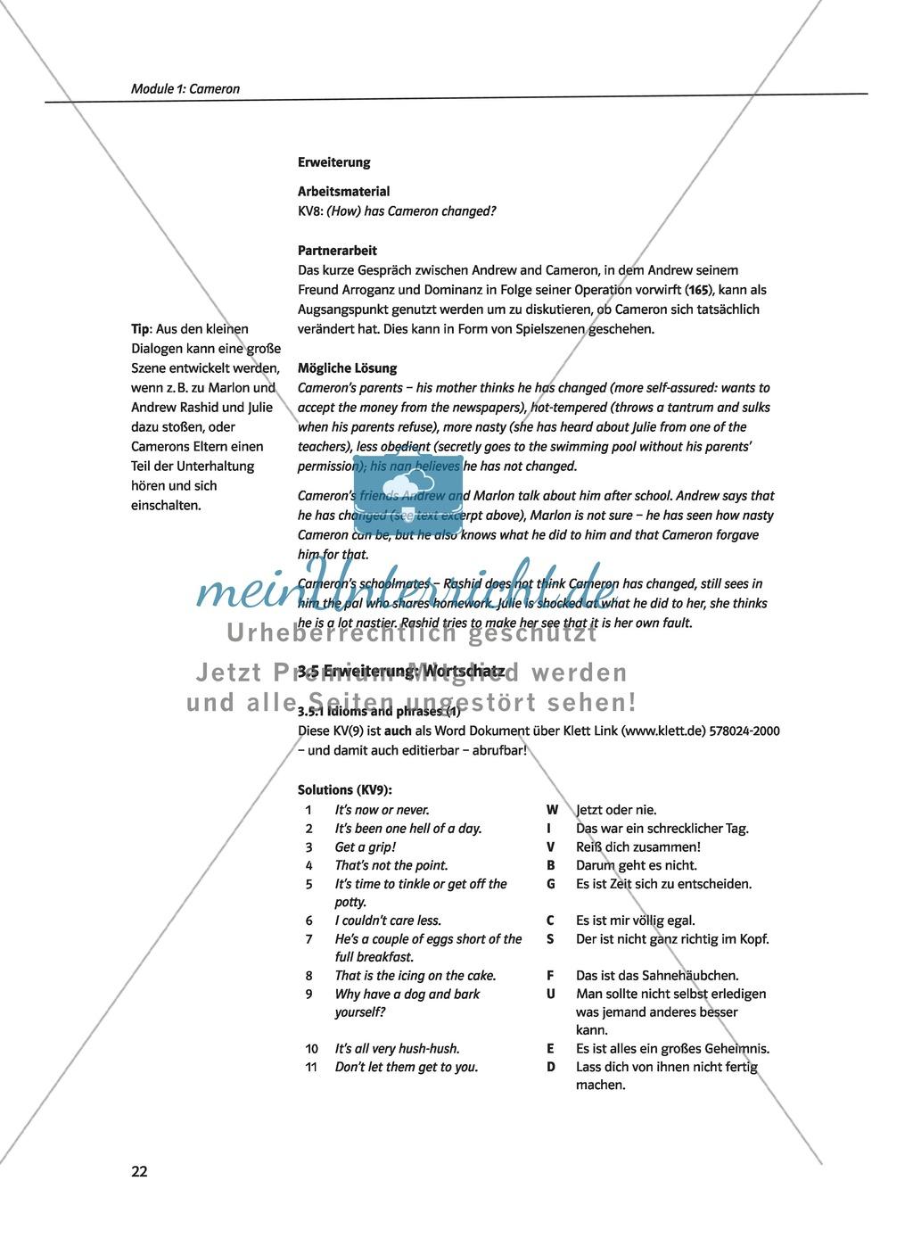 Cameron as the main character: Direct and indirect characterisation. Mit didaktischen Anmerkungen, Kopiervorlagen, Vokabelanmerkungen und Lösungsvorschlägen. Preview 6