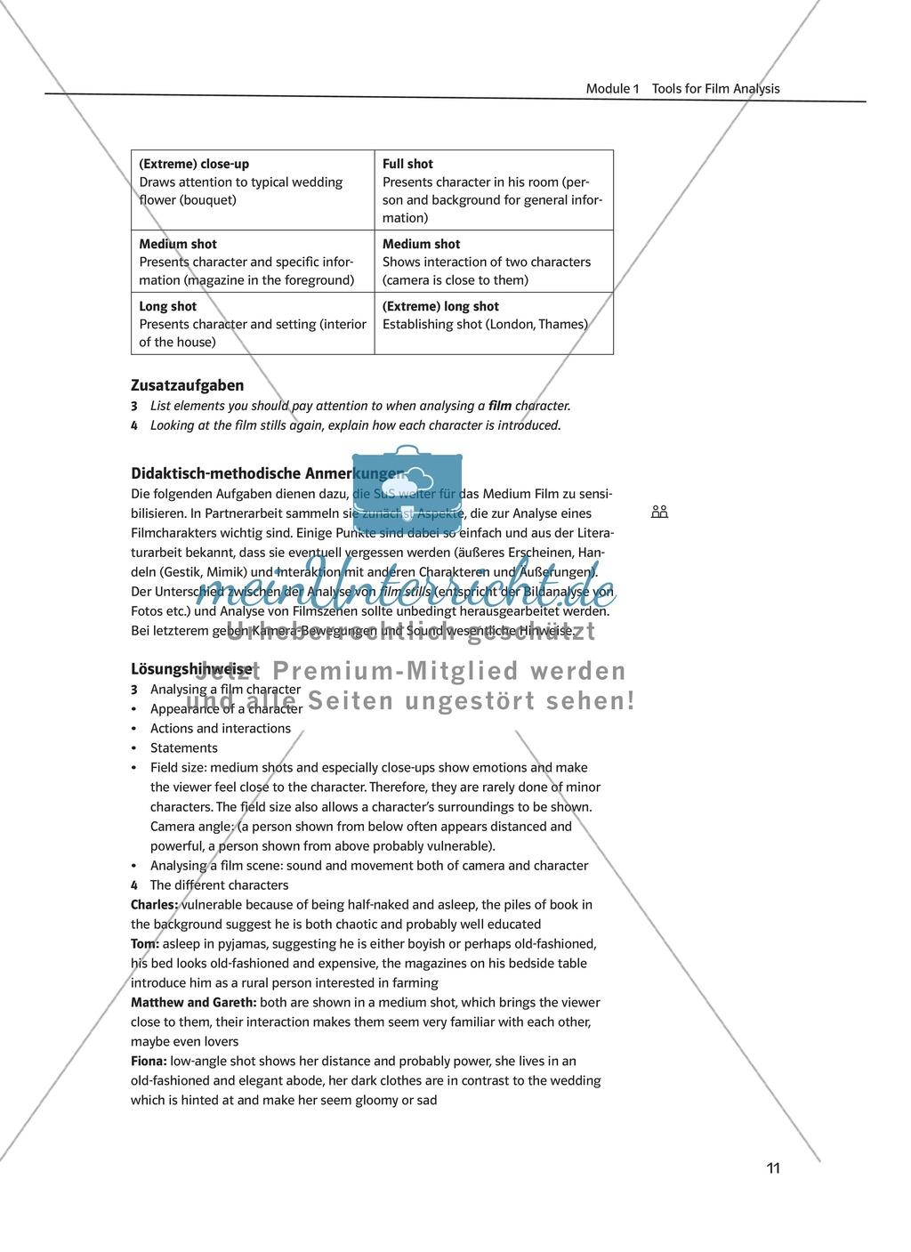 Tools for film analysis - Grundbegriffe der Filmanalyse und Vertiefung des Fachvokabulars zur Charakteranalyse Preview 1