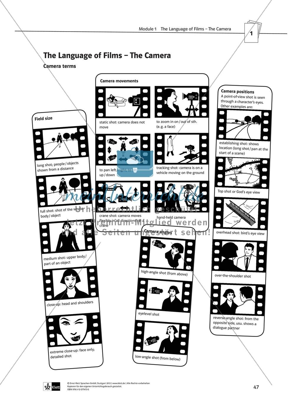 Tools for film analysis - Grundbegriffe der Filmanalyse und Vertiefung des Fachvokabulars zur Charakteranalyse Preview 2