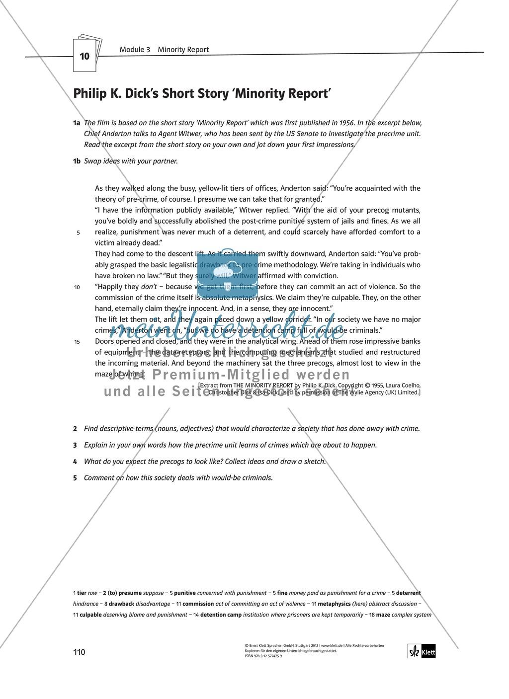 Minority Report - Pre-Viewing activities: Grundlagen zum Verständnis des Inhalts anhand einer short story Preview 2