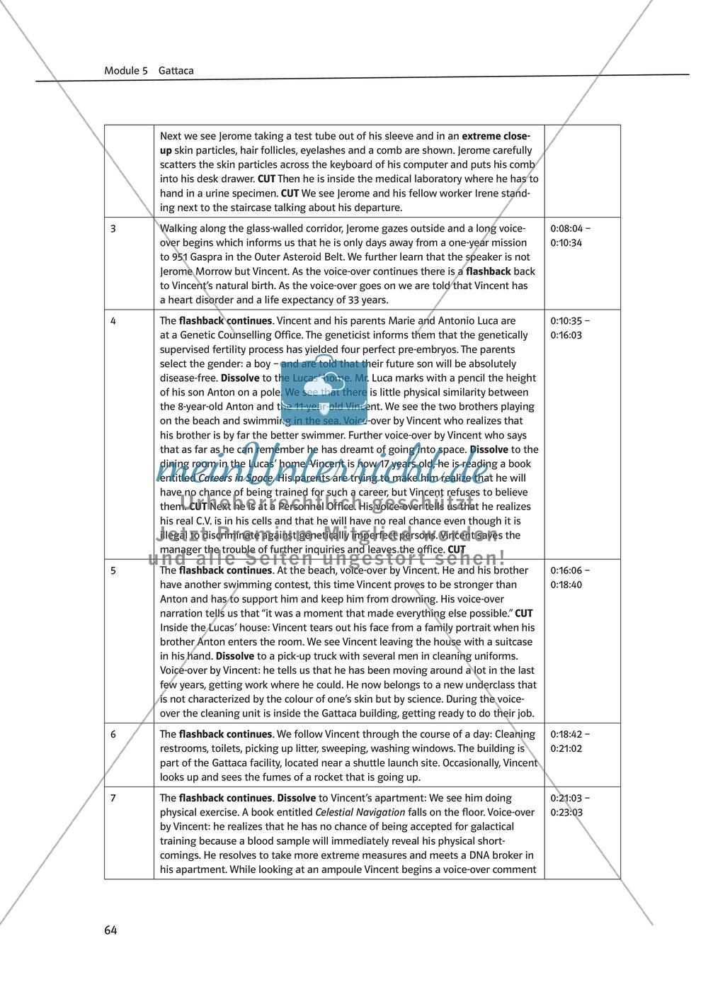Gattaca - Allgemeine Informationen und Szenenprotokoll - Übersicht über Inhalt und Kameraeinstellungen Preview 1