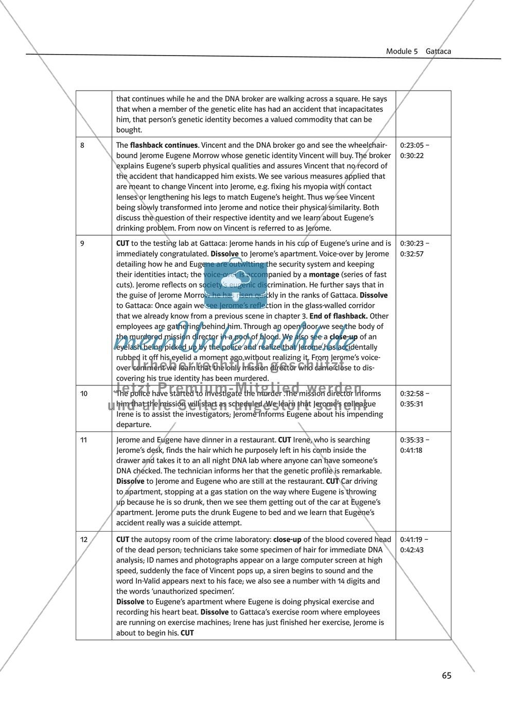 Gattaca - Allgemeine Informationen und Szenenprotokoll - Übersicht über Inhalt und Kameraeinstellungen Preview 2