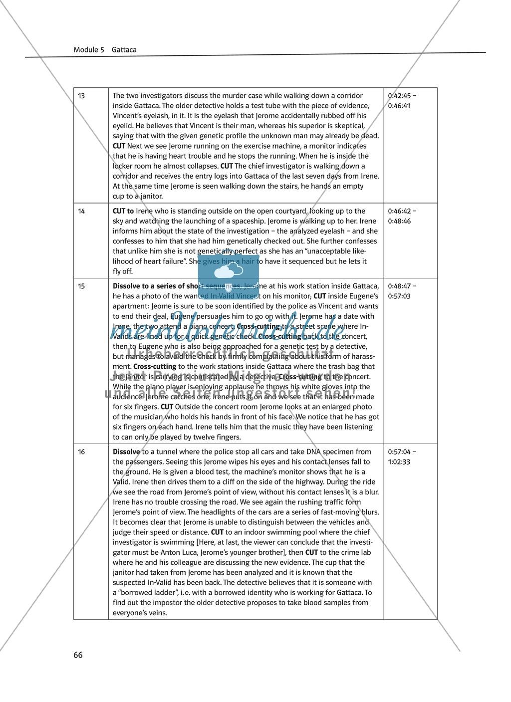 Gattaca - Allgemeine Informationen und Szenenprotokoll - Übersicht über Inhalt und Kameraeinstellungen Preview 3