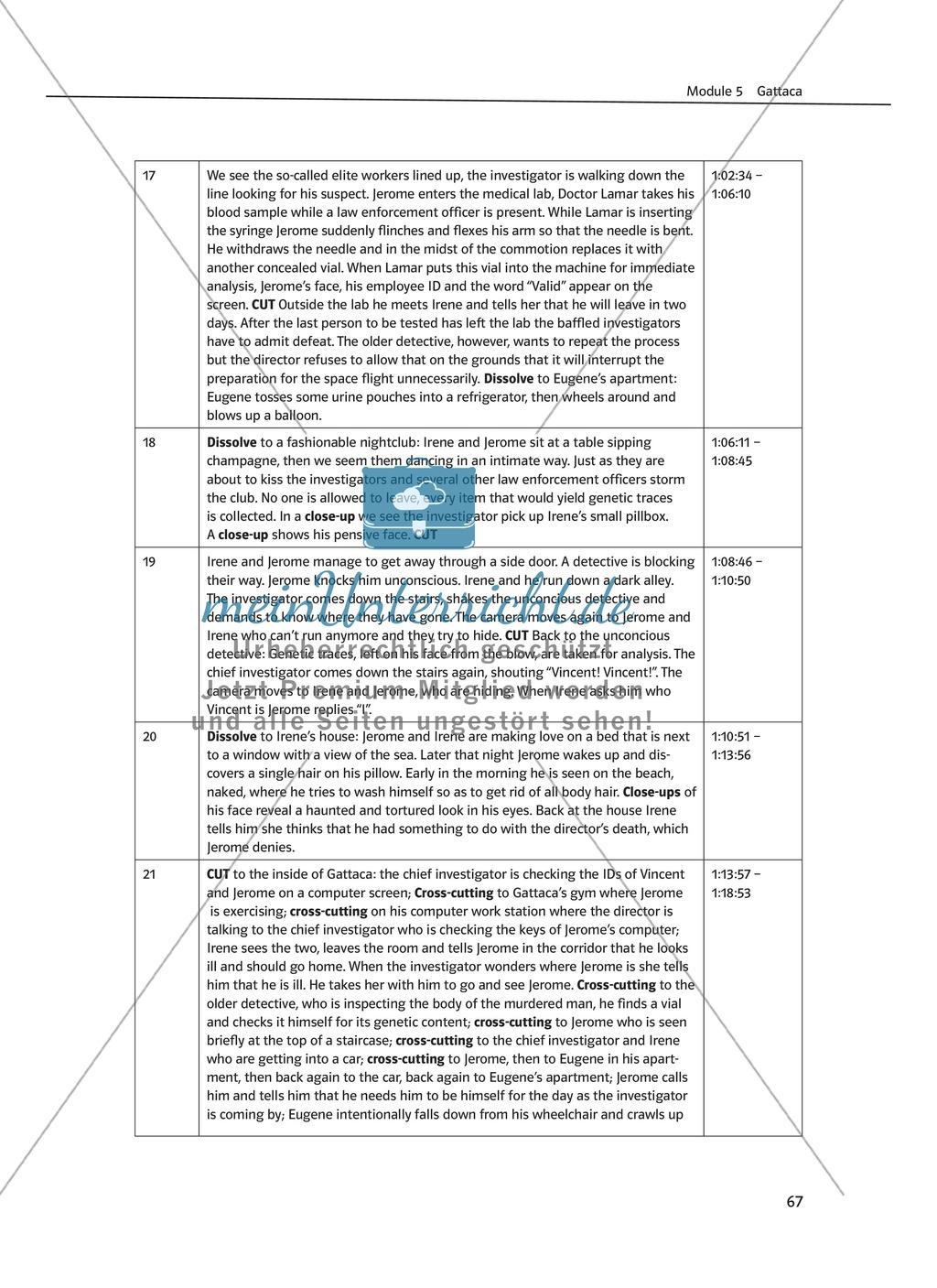Gattaca - Allgemeine Informationen und Szenenprotokoll - Übersicht über Inhalt und Kameraeinstellungen Preview 4