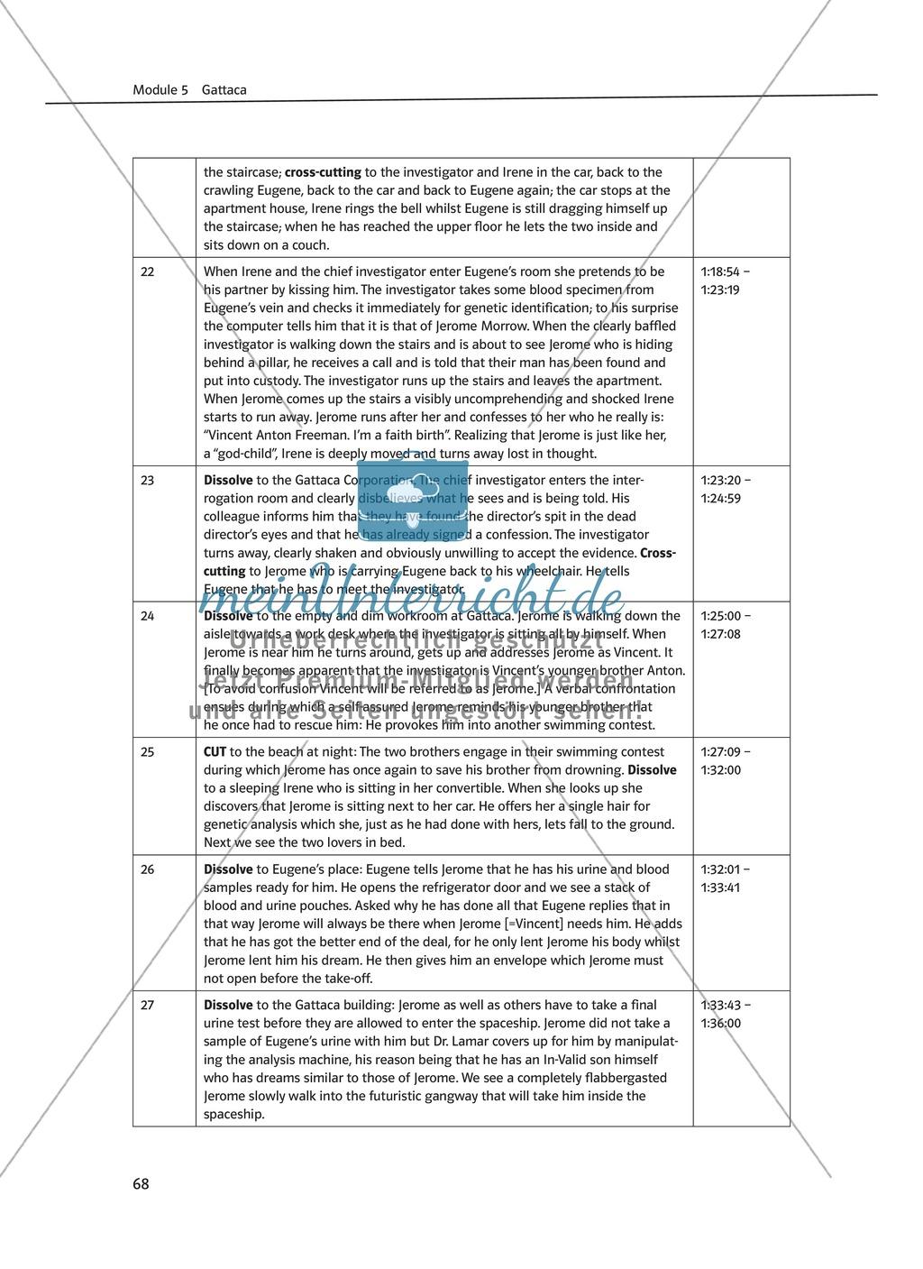 Gattaca - Allgemeine Informationen und Szenenprotokoll - Übersicht über Inhalt und Kameraeinstellungen Preview 5
