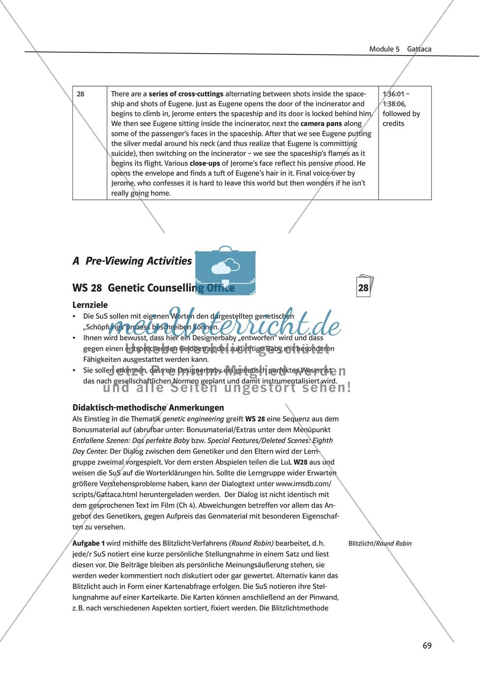 Gattaca - Allgemeine Informationen und Szenenprotokoll - Übersicht über Inhalt und Kameraeinstellungen Preview 6