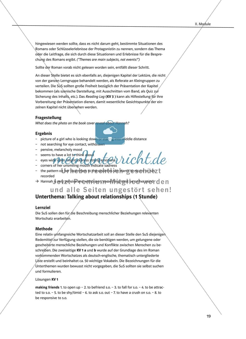Pre-reading activities: Einstieg in die Lektüre + Lernziele + ...