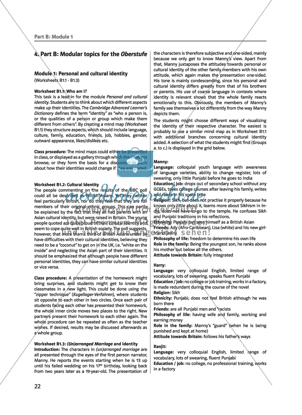 (Un)arranged marriage - Themen für die Oberstufe: Personal and cultural identity in general and in reference to the novel Preview 1