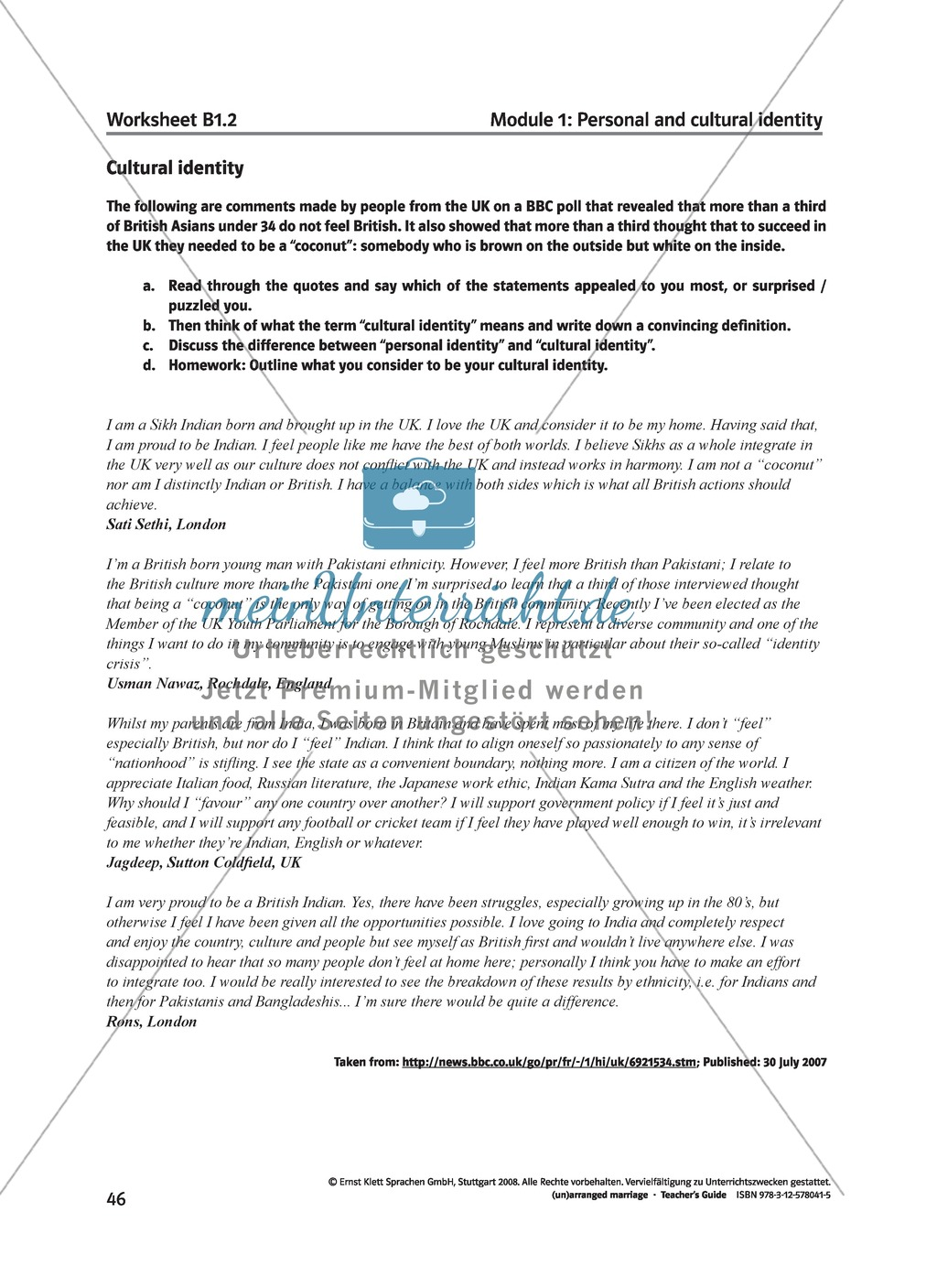 (Un)arranged marriage - Themen für die Oberstufe: Personal and cultural identity in general and in reference to the novel Preview 4