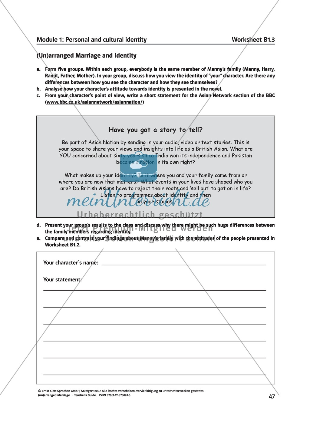 (Un)arranged marriage - Themen für die Oberstufe: Personal and cultural identity in general and in reference to the novel Preview 5