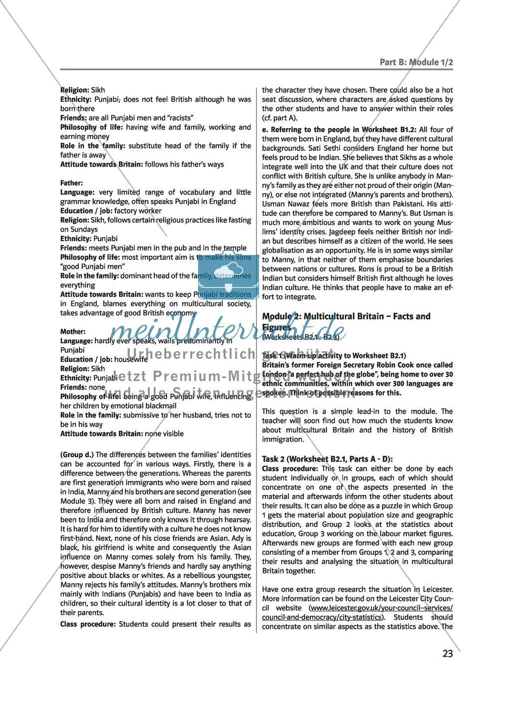 (Un)arranged marriage - Themen für die Oberstufe: Multicultural Britain - Facts and Figures Preview 0