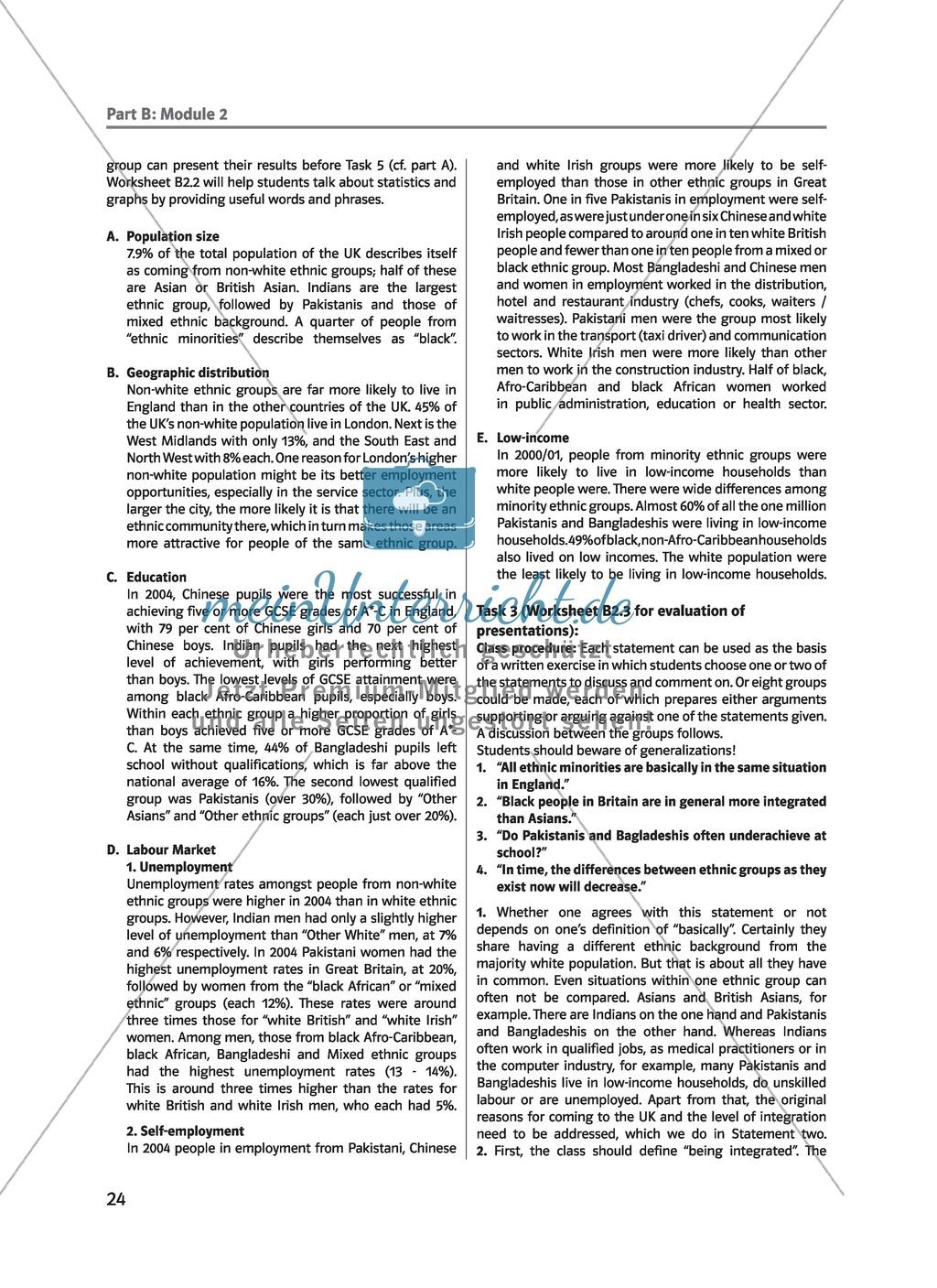 (Un)arranged marriage - Themen für die Oberstufe: Multicultural Britain - Facts and Figures Preview 1