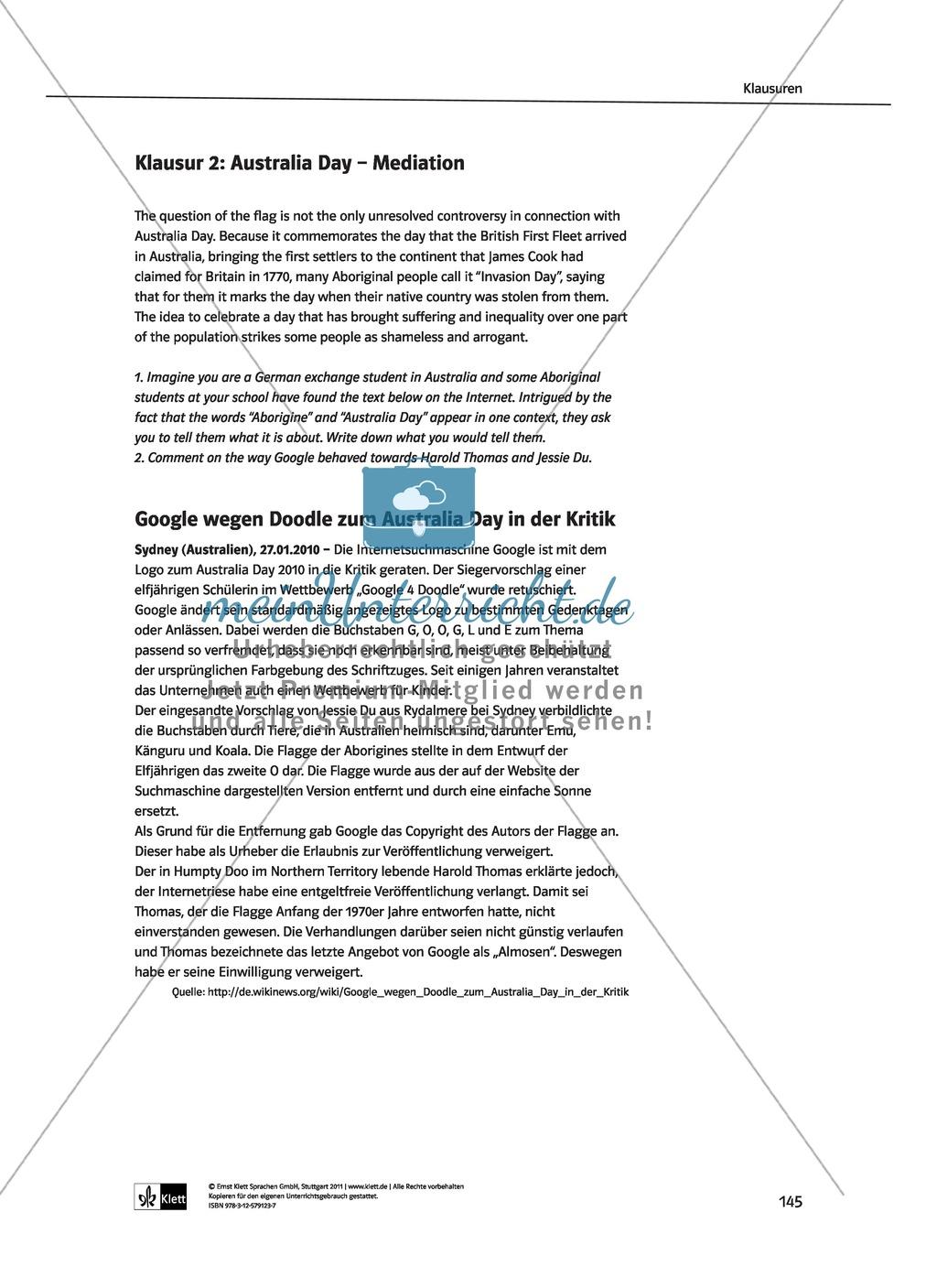 Dreiteilige Klausur mit Aufgaben zum Thema Australien: Hör- und Leseverstehen sowie Essay Preview 1