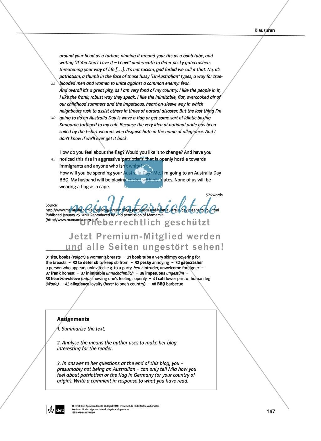 Dreiteilige Klausur mit Aufgaben zum Thema Australien: Hör- und Leseverstehen sowie Essay Preview 3