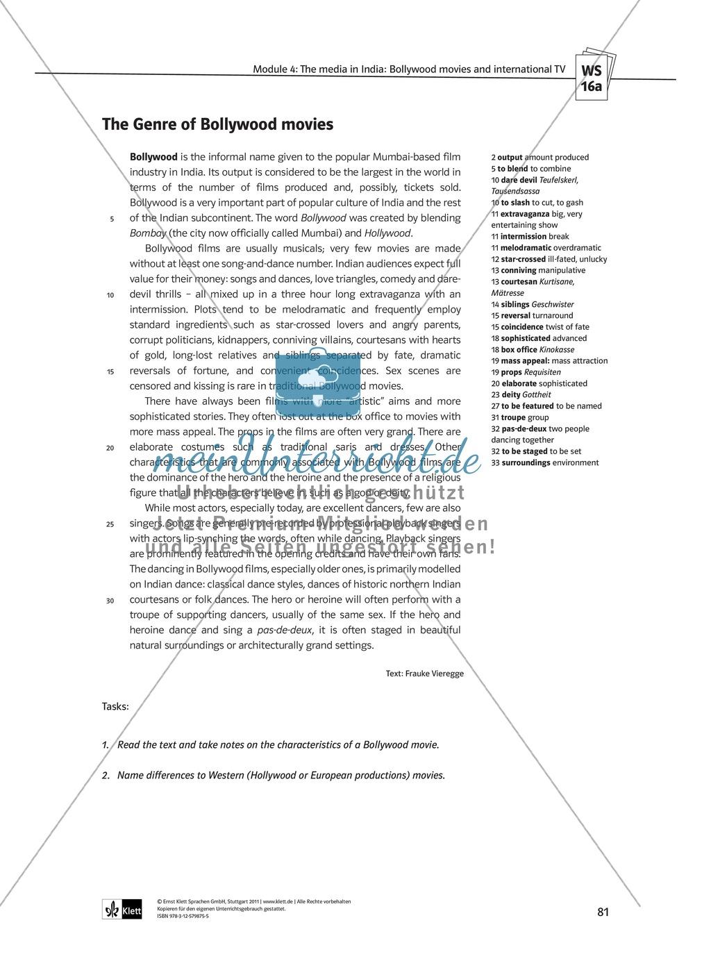 The media in India: Bollywood movies and international TV: Sachanalyse + Lernziele + Unterrichtseinheiten + Kopiervorlagen Preview 33