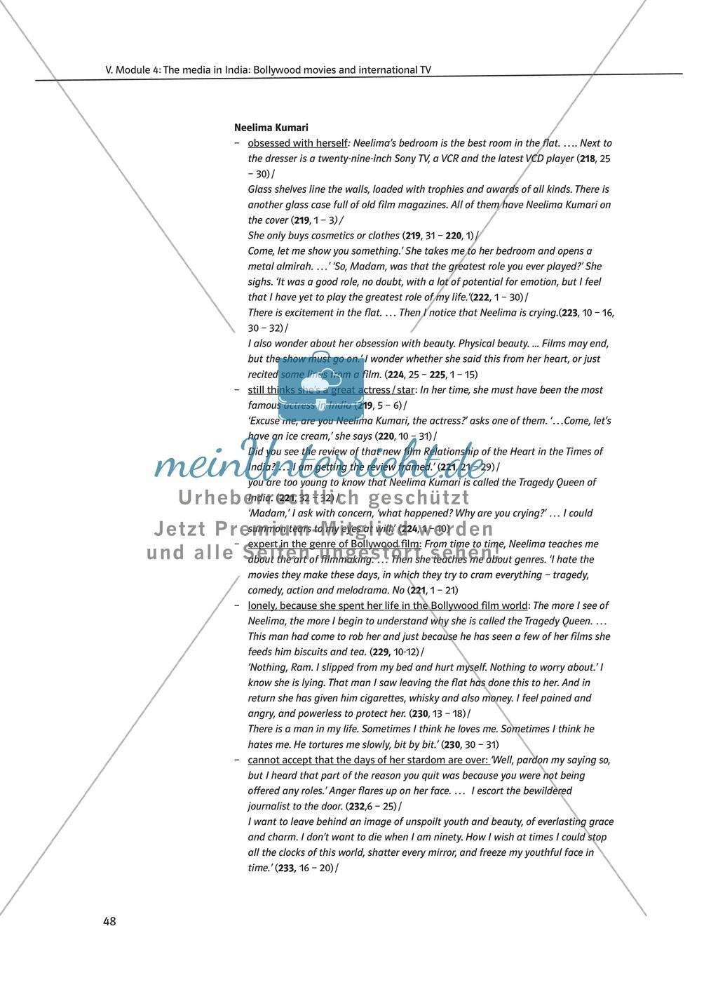 The media in India: Bollywood movies and international TV: Sachanalyse + Lernziele + Unterrichtseinheiten + Kopiervorlagen Preview 7