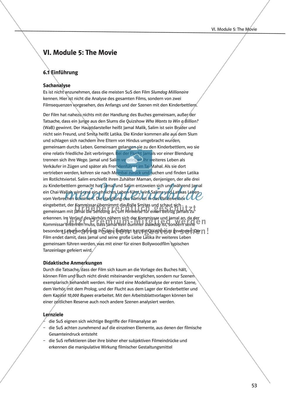 The Movie Slumdog Millionaire: Sachanalyse + Lernziele + Unterrichtseinheiten + Kopiervorlagen Preview 1