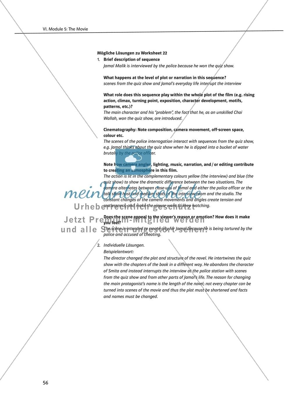 The Movie Slumdog Millionaire: Sachanalyse + Lernziele + Unterrichtseinheiten + Kopiervorlagen Preview 3