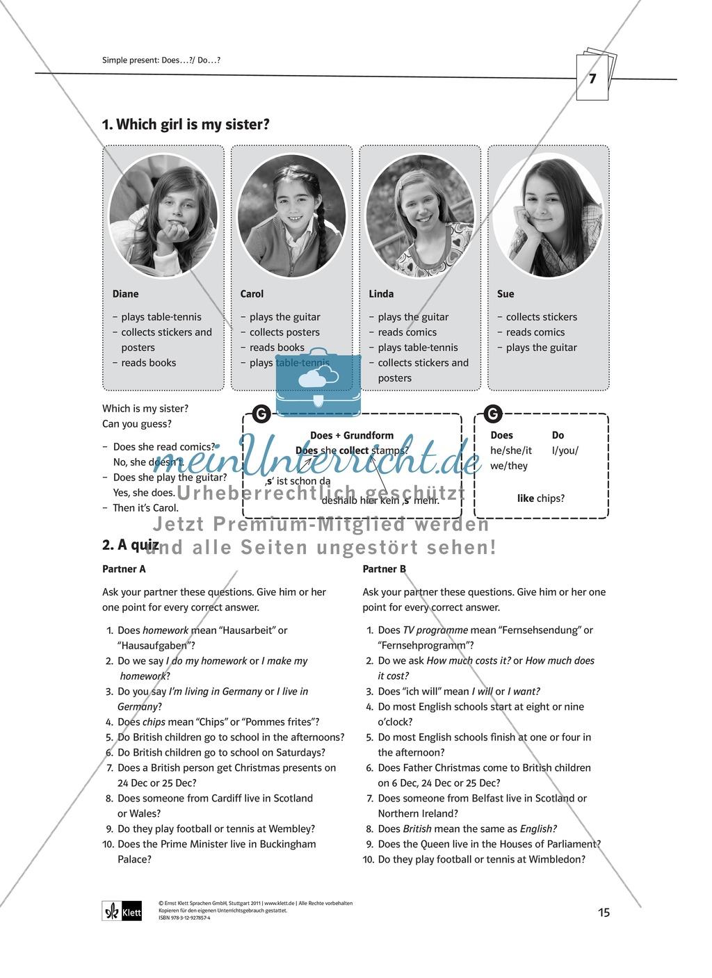 Arbeitsblätter für einen kommunikativen Grammatikunterricht: Simple Present Preview 10