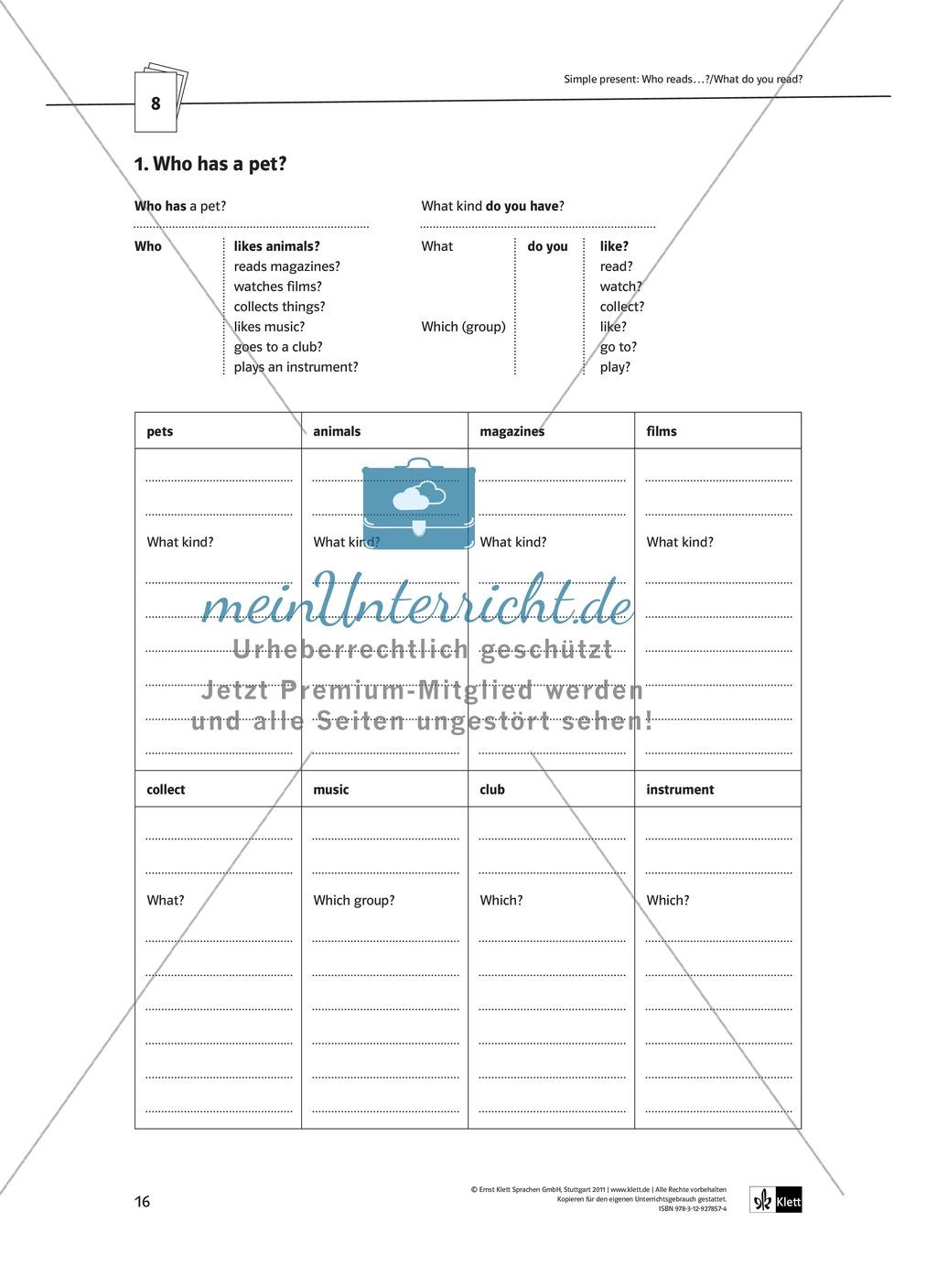 Arbeitsblätter für einen kommunikativen Grammatikunterricht: Simple Present Preview 11