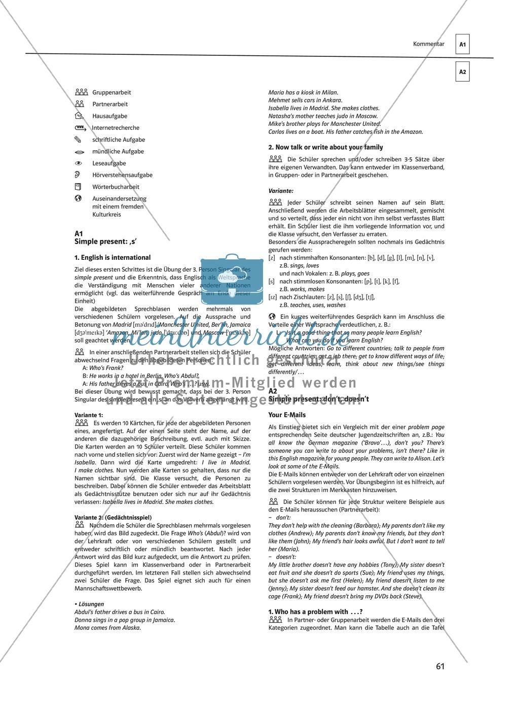 Arbeitsblätter für einen kommunikativen Grammatikunterricht: Simple Present Preview 12