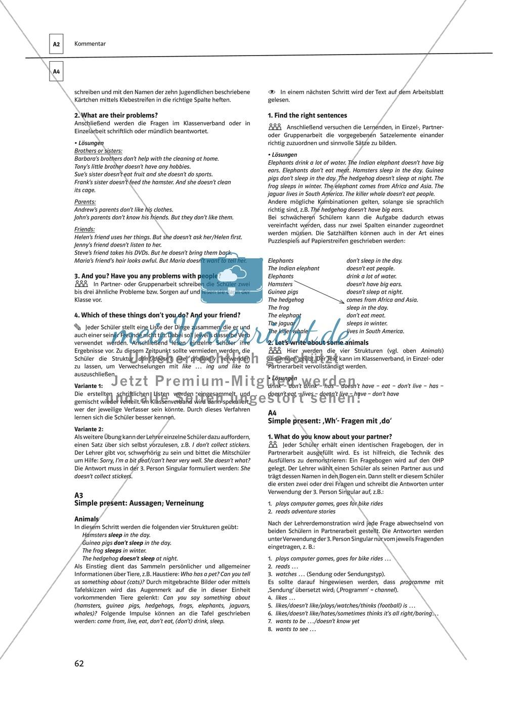 Arbeitsblätter für einen kommunikativen Grammatikunterricht: Simple Present Preview 13