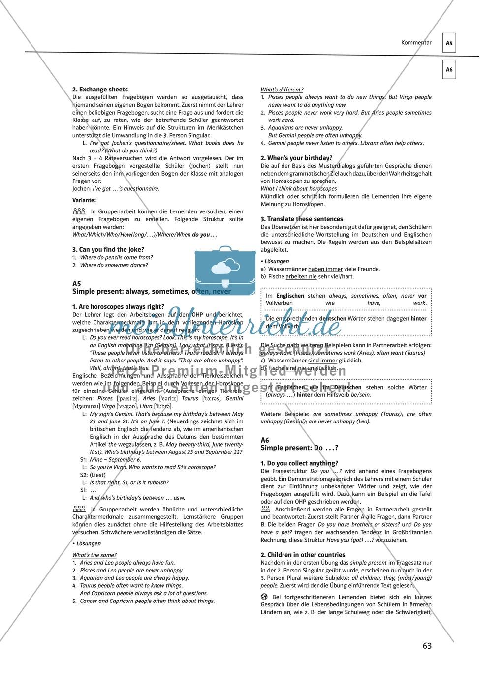 Arbeitsblätter für einen kommunikativen Grammatikunterricht: Simple Present Preview 14