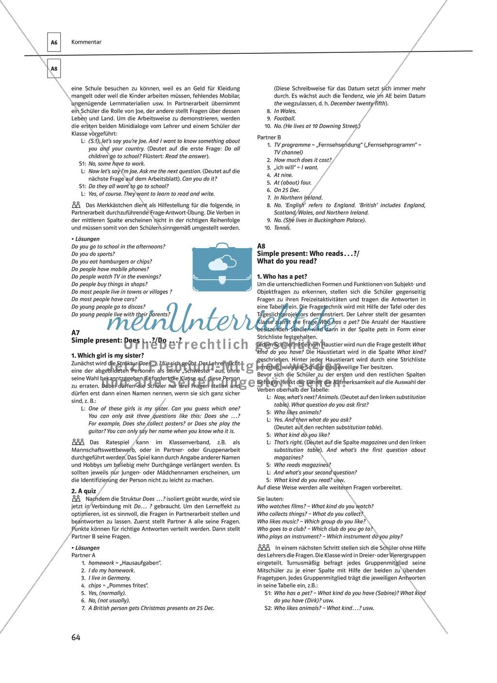 Arbeitsblätter für einen kommunikativen Grammatikunterricht: Simple Present Preview 15