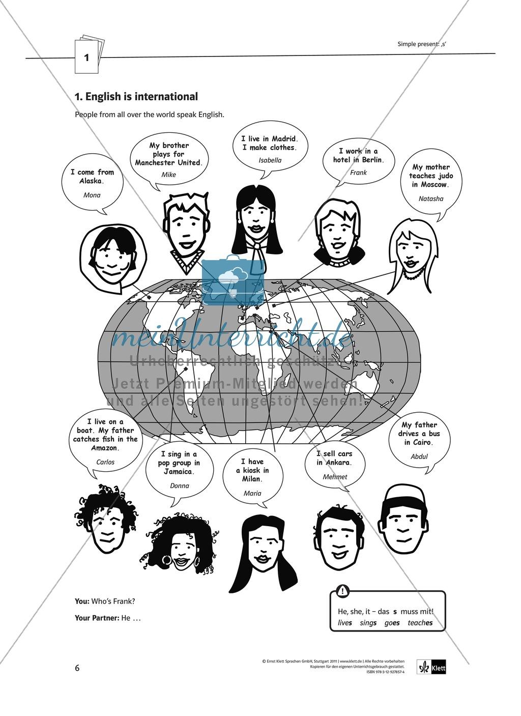 Arbeitsblätter für einen kommunikativen Grammatikunterricht: Simple Present Preview 0