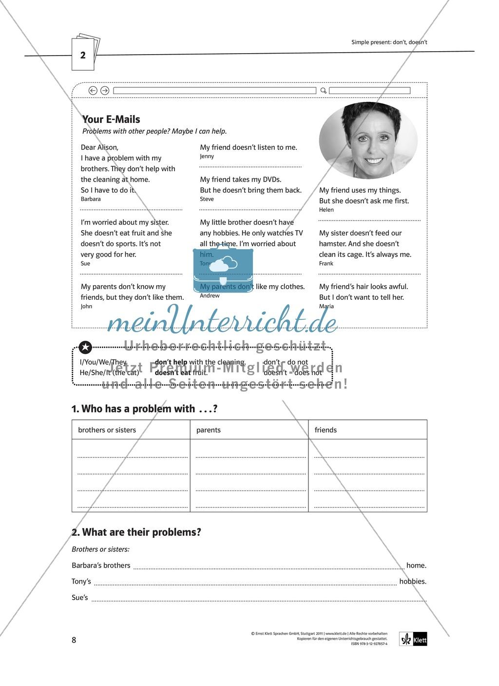 Arbeitsblätter für einen kommunikativen Grammatikunterricht: Simple Present Preview 2