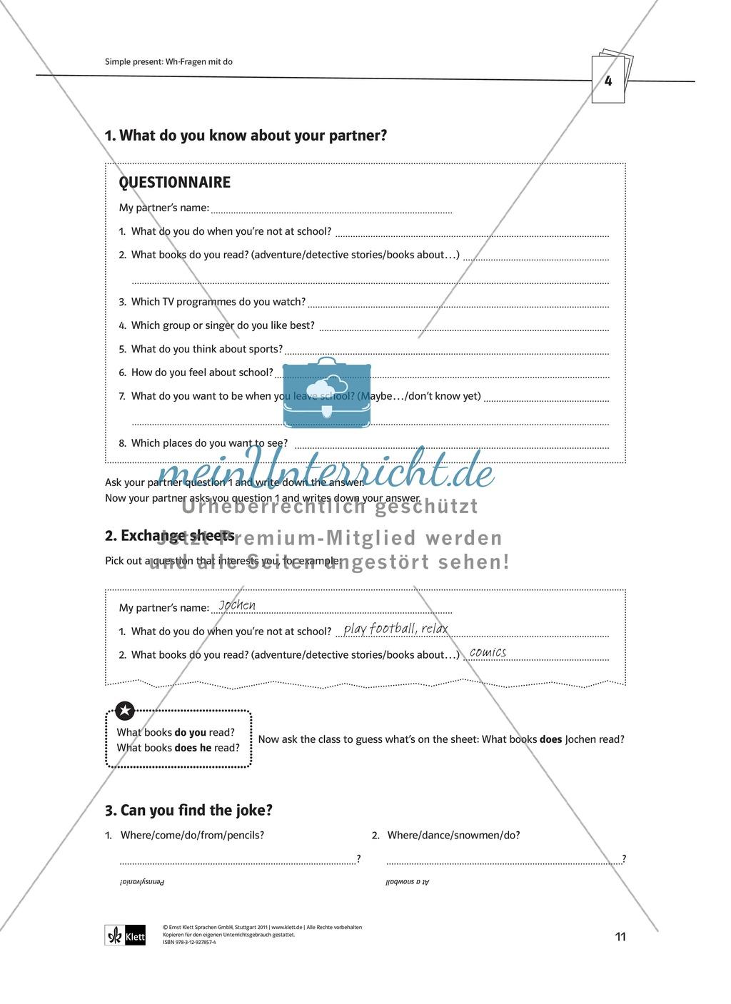Arbeitsblätter für einen kommunikativen Grammatikunterricht: Simple Present Preview 6