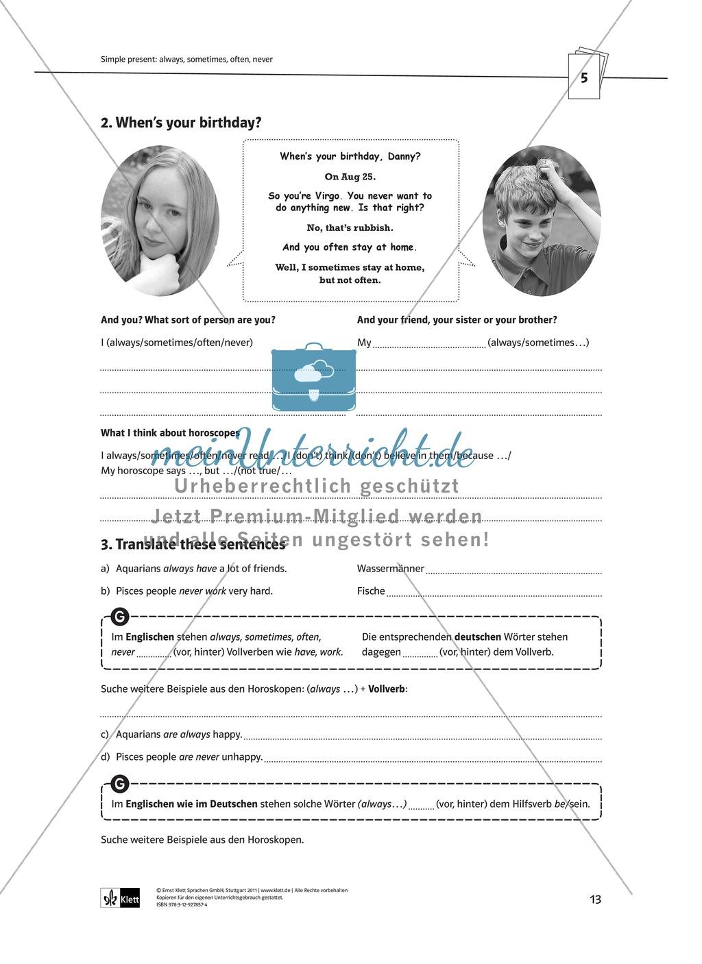 Arbeitsblätter für einen kommunikativen Grammatikunterricht: Simple Present Preview 7