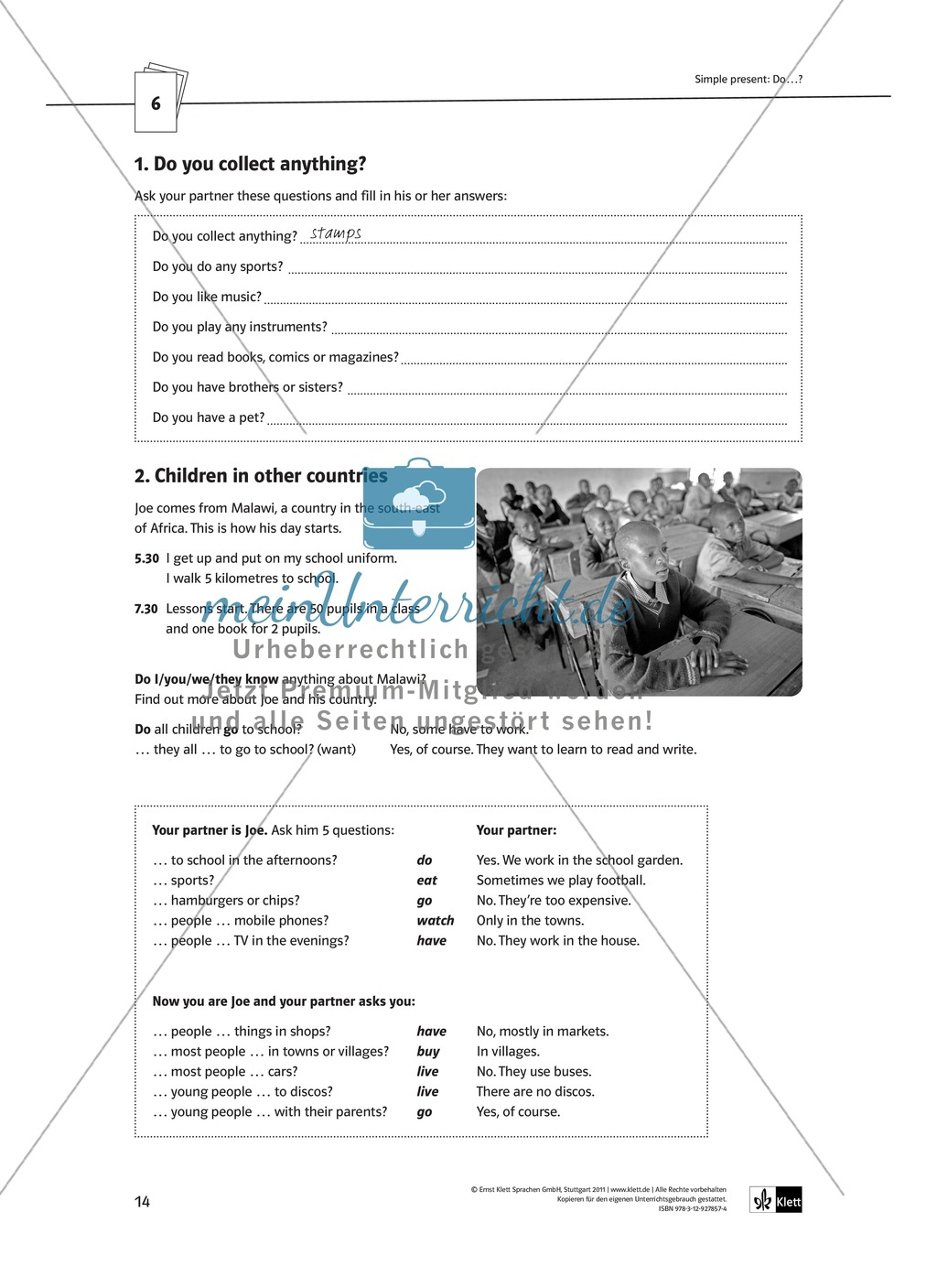Arbeitsblätter für einen kommunikativen Grammatikunterricht: Simple Present Preview 9