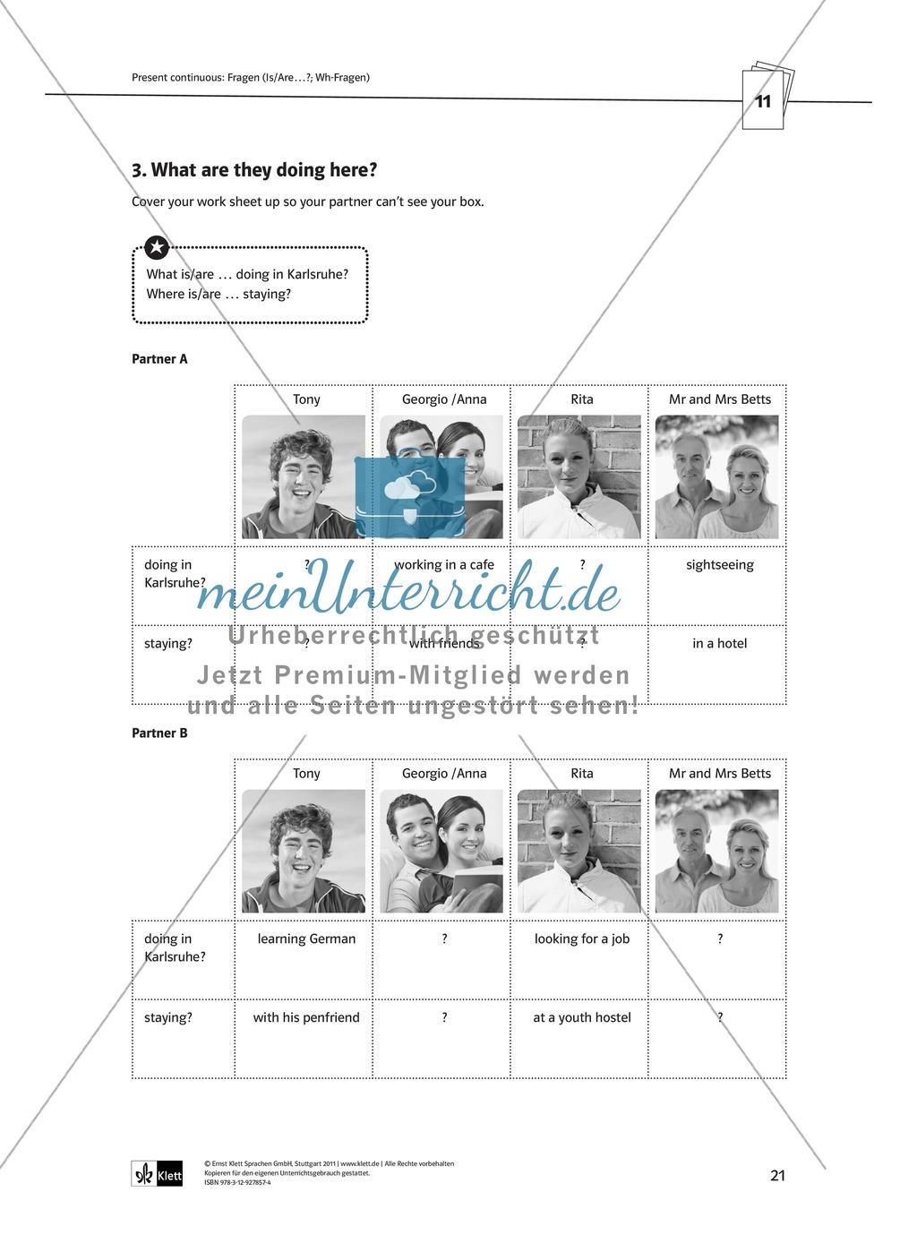 Arbeitsblätter für einen kommunikativen Grammatikunterricht: Present continuous Preview 4