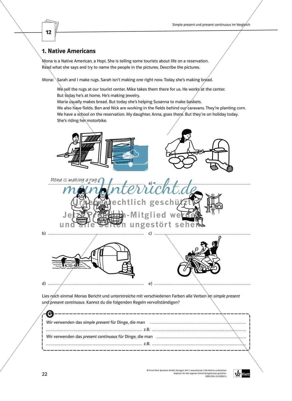 Arbeitsblätter für einen kommunikativen Grammatikunterricht: Present continuous Preview 5