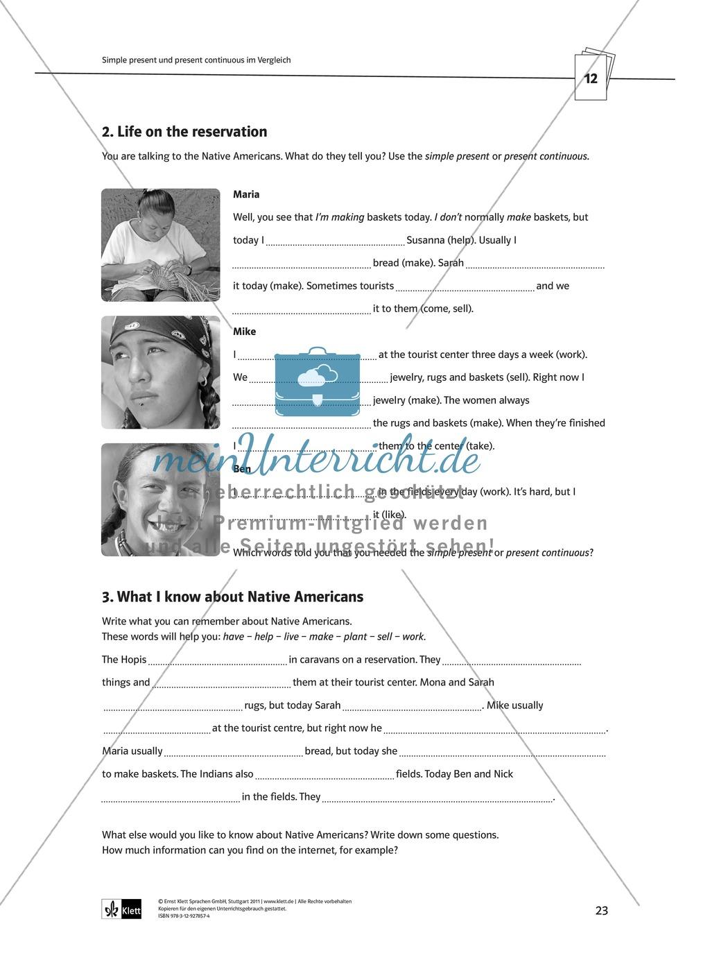 Arbeitsblätter für einen kommunikativen Grammatikunterricht: Present continuous Preview 6