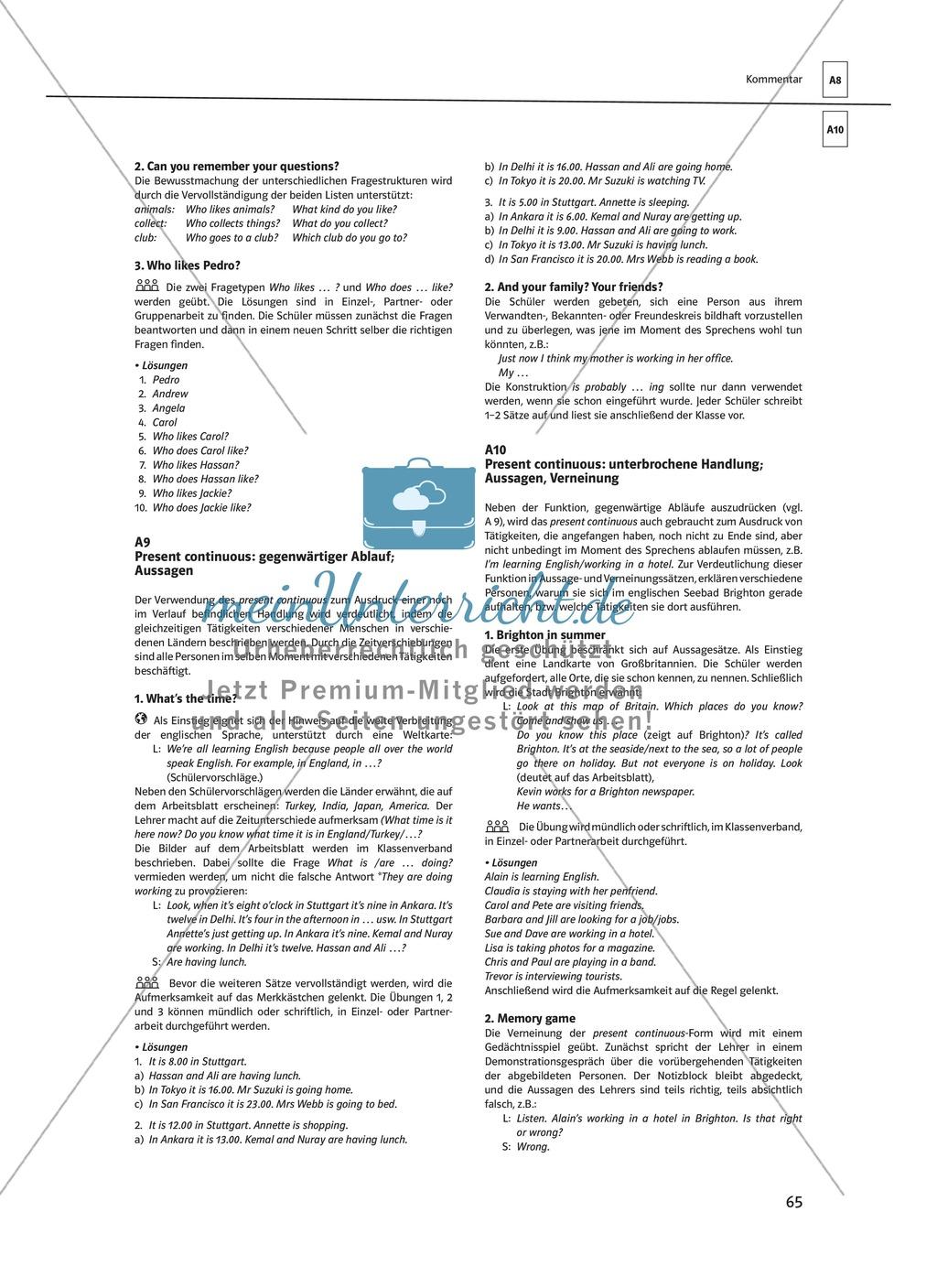 Arbeitsblätter für einen kommunikativen Grammatikunterricht: Present continuous Preview 7
