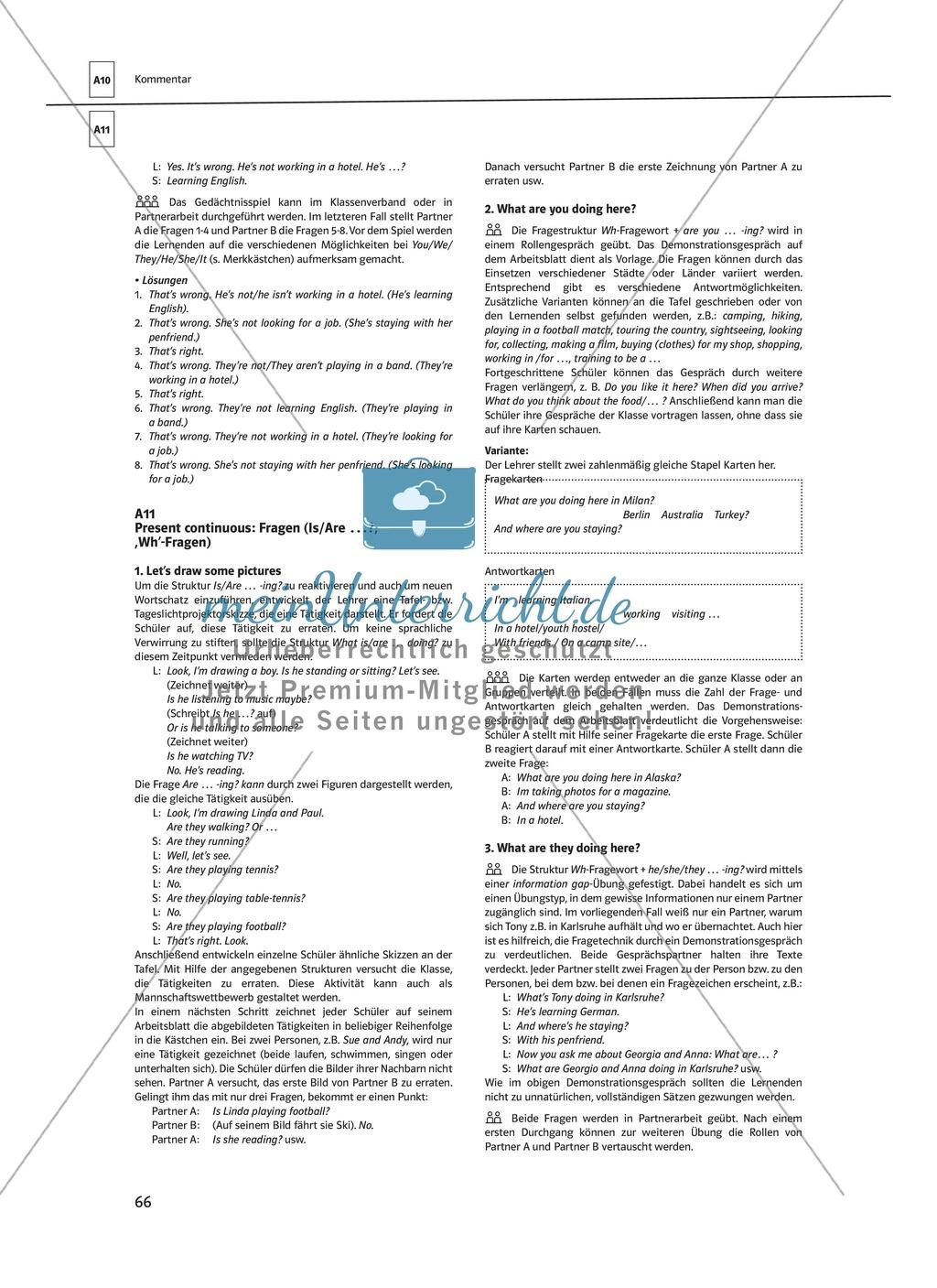 Arbeitsblätter für einen kommunikativen Grammatikunterricht: Present continuous Preview 8