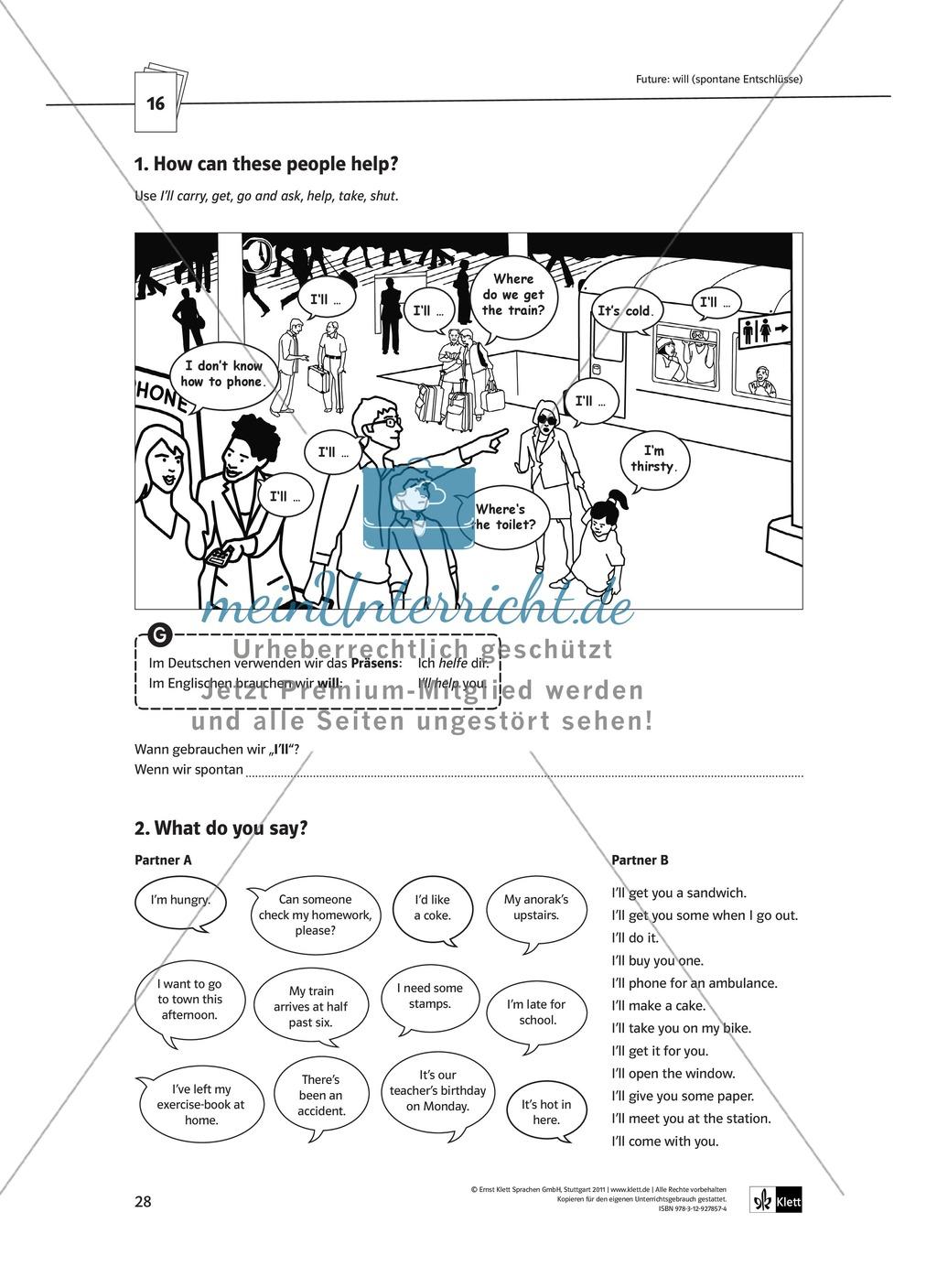 Arbeitsblätter für einen kommunikativen Grammatikunterricht: Future Preview 4