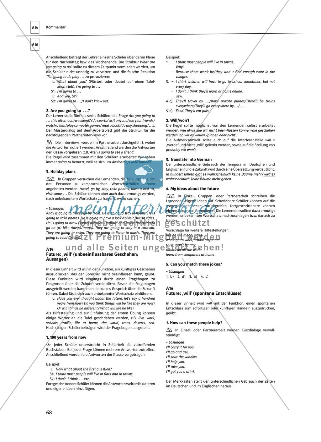 Arbeitsblätter für einen kommunikativen Grammatikunterricht: Future Preview 7