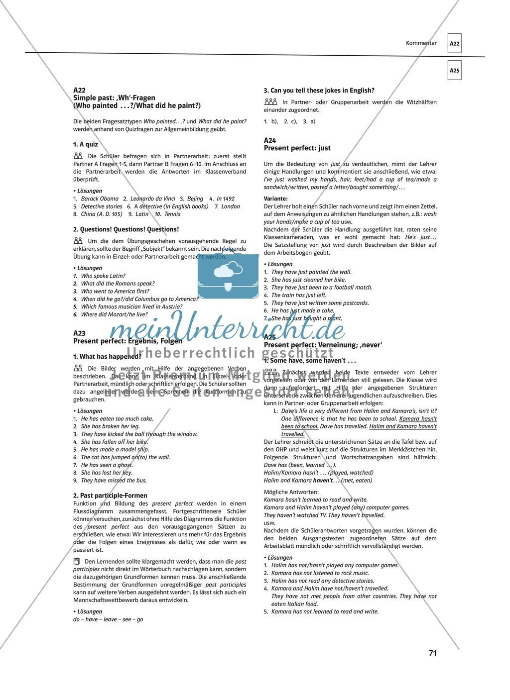 Arbeitsblätter für einen kommunikativen Grammatikunterricht: Simple ...