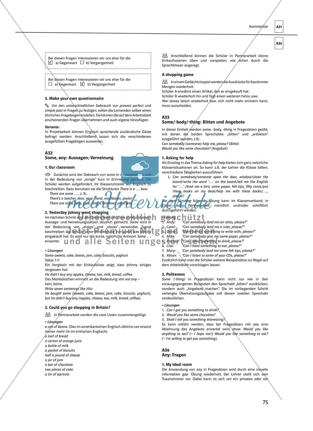 Arbeitsblätter für einen kommunikativen Grammatikunterricht: Mengenangaben Preview 5